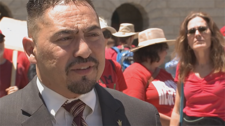 """I think the teachers fear that now that their attention will start to wane after the budget has passed, it might give them an opportunity to sneak this in,"" said State Sen. Martin Quezada (D-Phoenix). (Source: 3TV/CBS 5)"