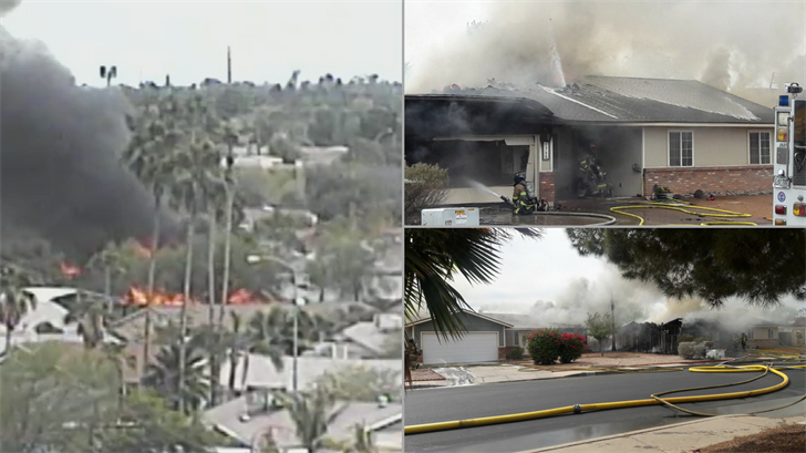 Two houses were destroyed and another suffered smoke damage in Mesa due to a fire. (Source: Jeremy A. King)