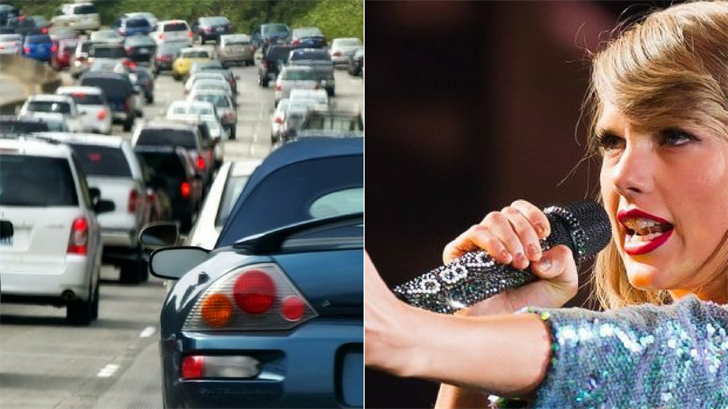 Grammy-winning singer Taylor Swift is performing at the University of Phoenix Stadium Tuesday evening in Glendale and that means heavier than usual traffic on the freeways. (Source: AP Images/Photo)