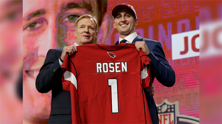 UCLA's Josh Rosen, right, poses with commissioner Roger Goodell after being selected by the Arizona Cardinals during the first round of the NFL football draft, Thursday, April 26, 2018, in Arlington, Texas. (Source: AP Photo/David J. Phillip)