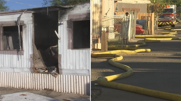 The location of a mobile home caused problems for Phoenix firefighters. (Source: 3TV/CBS 5)