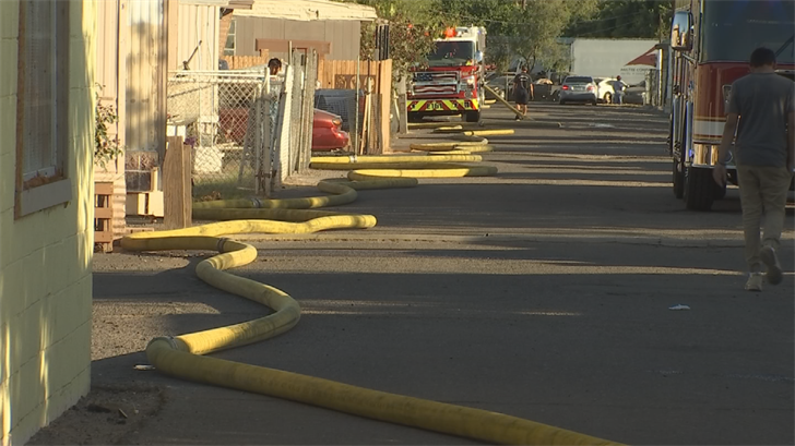 Crews used more than a quarter-mile of hose to get water from the closest hydrant. (Source: 3TV/CBS 5)