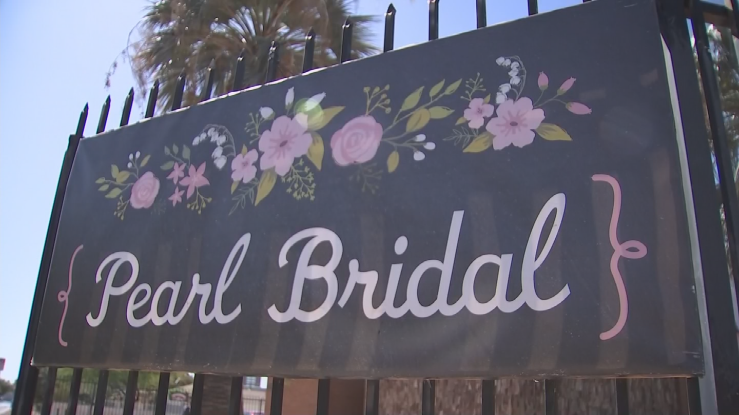 A message appearing on the Pearl Bridal webpage says the owner is filing for bankruptcy. (Source: 3TV/CBS 5)