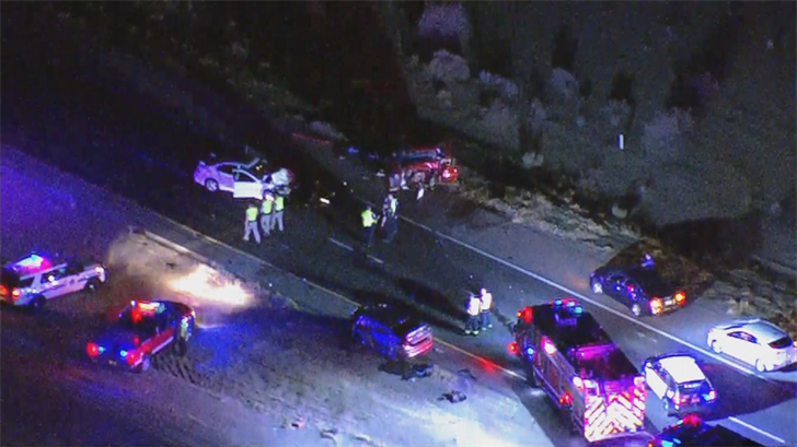 More than a dozen emergency service vehicleswere at the scene on the freeway near Riggs Road on Monday night. (Source: 3TV/CBS 5)