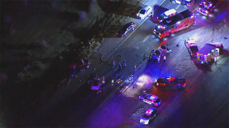 The crash occurred just before 8:30 p.m. and the highway was closed at Riggs Road. (Source: 3TV/CBS 5)
