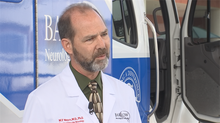 """We're significantly shortening the amount of time between symptom onset, calling 911, and treating that stroke by taking the emergency room to the patient,"" said Dr. Michael Waters. (Source: 3TV/CBS 5)"