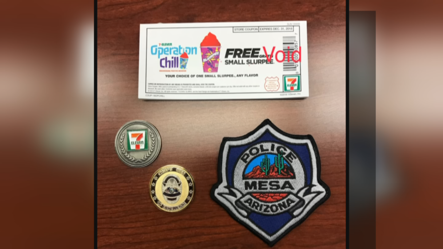 For the 23rd year, 7-Eleven is working with local police and sheriff's departments to distribute free Slurpee coupons to children through its popular Operation Chill program. (Source: Mesa PD/7-Eleven)
