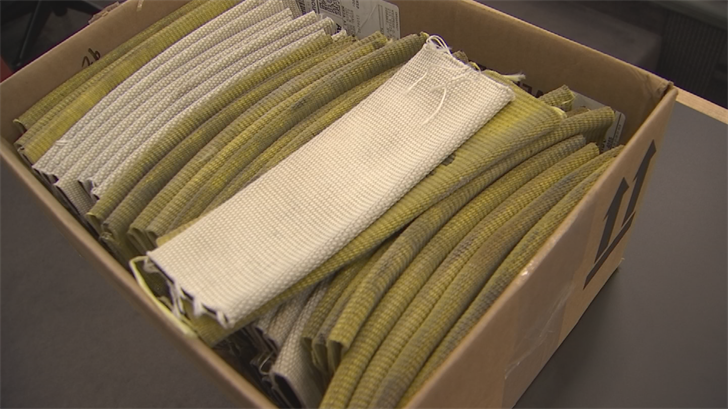 The sleeve is made out of decommissioned firehose. (Source: 3TV/CBS 5)