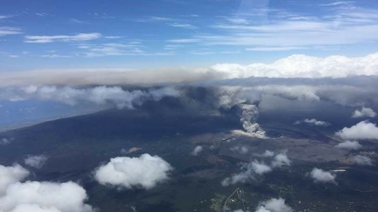 Early Thursday the show continued when the Kilauea volcano's summit rocketed ash and smoke thousands of feet into the air. (Source: USGS)