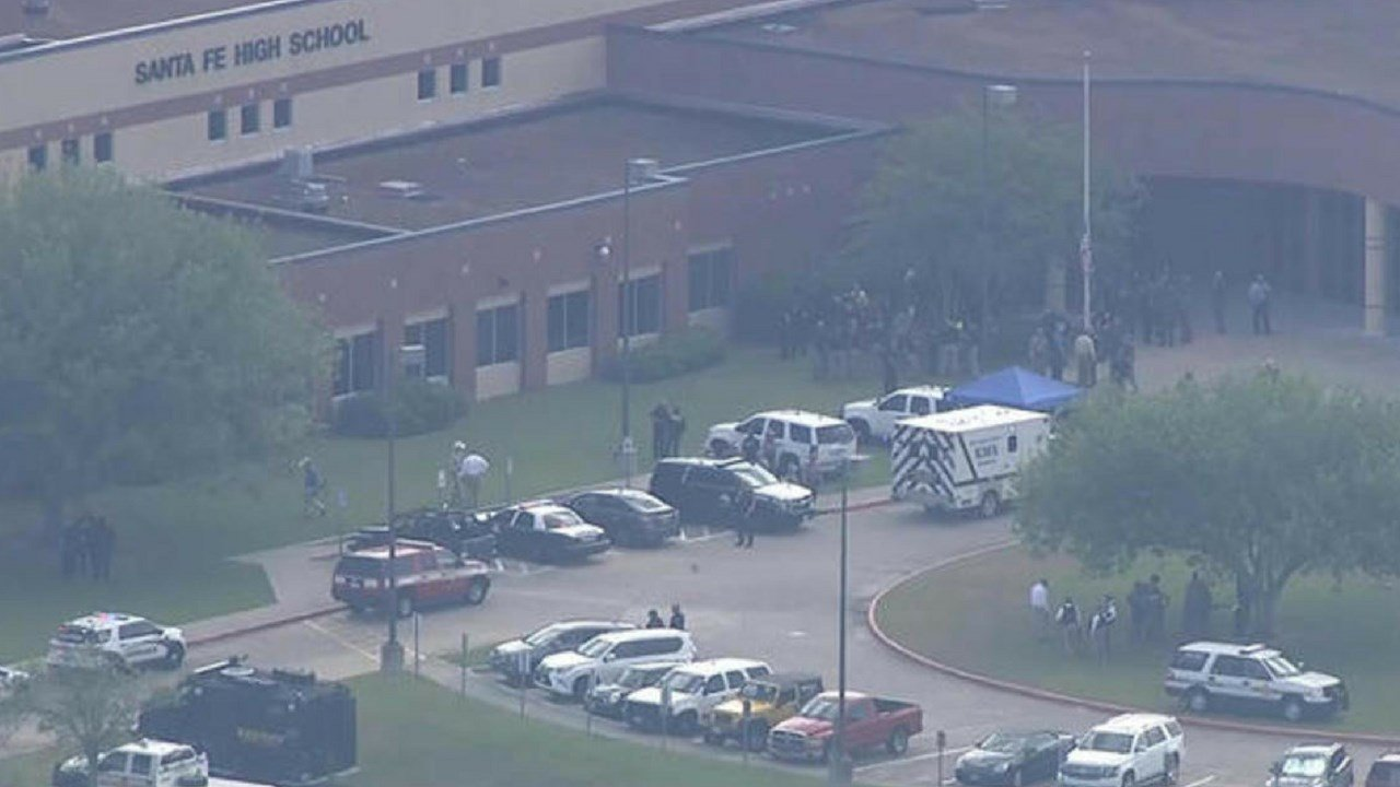 A 17-year-old carrying a shotgun and a revolver opened fire at a Houston-area high school Friday. (Source: CBS News)