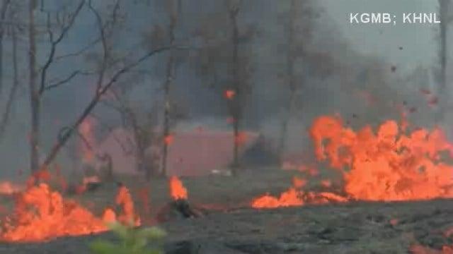 VIDEO: Lava flow engulfs house