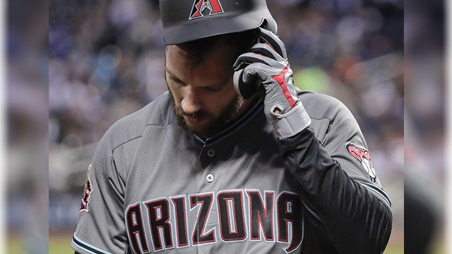 Arizona Diamondbacks' Steven Souza Jr. pulls off his batting helmet after striking out against the New York Mets during the fourth inning of a baseball game, Friday, May 18, 2018, in New York. (Source: AP Photo/Julie Jacobson)