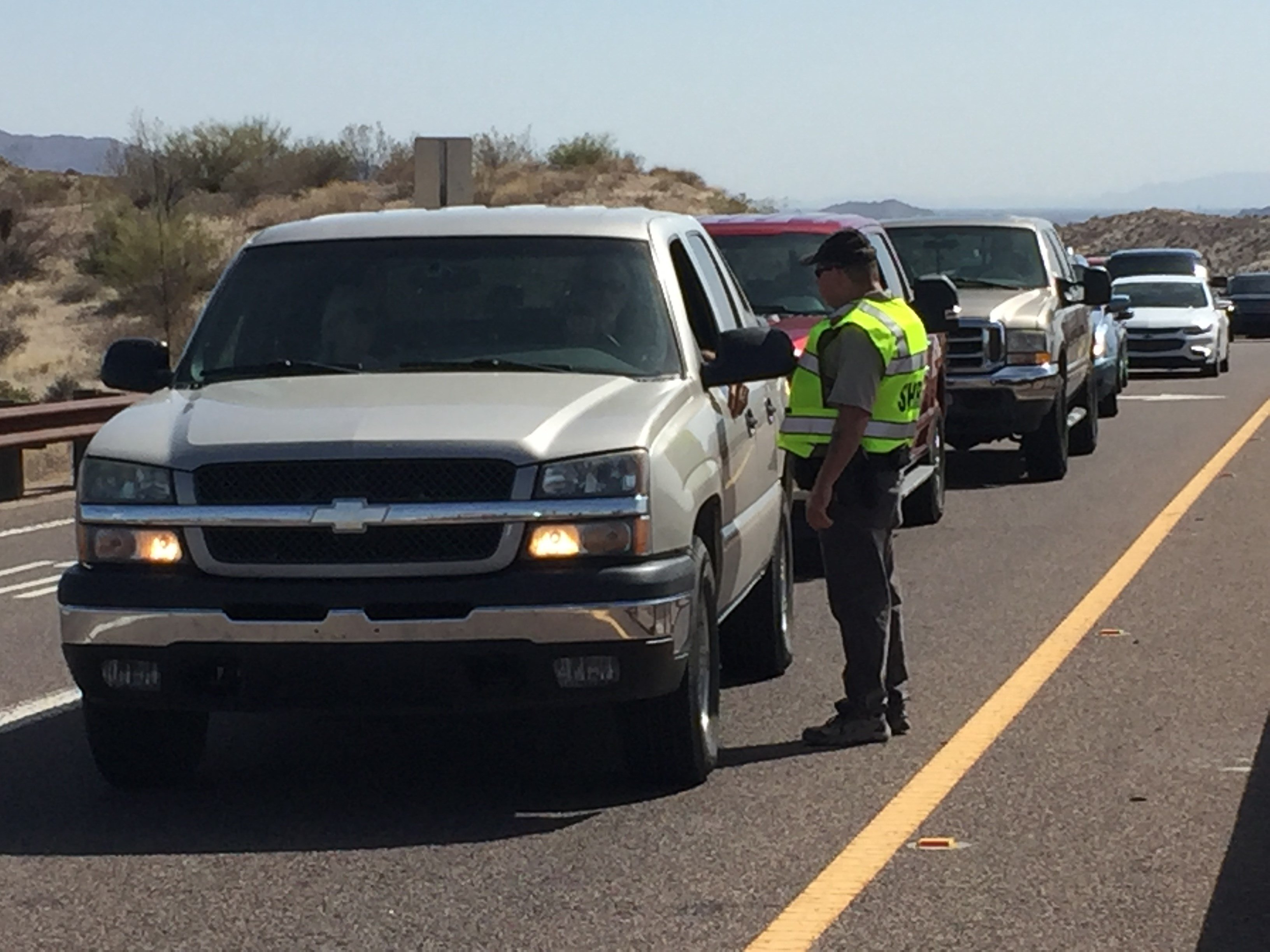 Traffic was backed up for miles. (Source: 3TV/CBS 5)