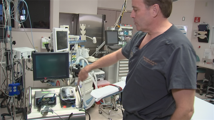 Surgeons take a high dose of a solution, heated to 103 degrees, that has a chemotherapeutic agent in it. (Source: 3TV/CBS 5)