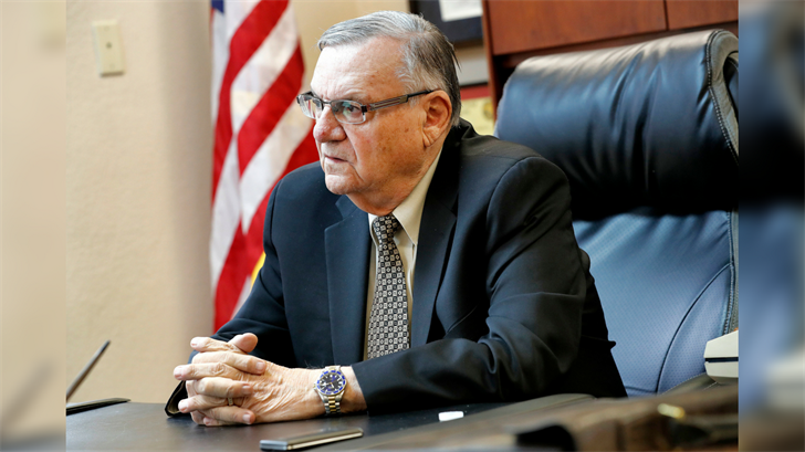Former Maricopa County Sheriff and U.S. Senate candidate Joe Arpaio speaks at his office, Wednesday, Jan. 10, 2018, in Fountain Hills, Ariz. (Source: AP Photo/Matt York)