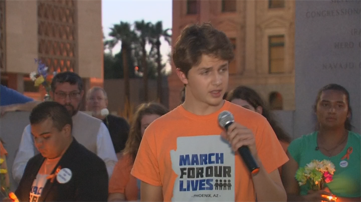 Organized by March for our Lives AZ, they read off the names of all 10 victims, then paused for a 10 minute moment of silence. (Source: 3TV/CBS 5)