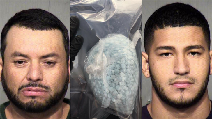 Octavio Gutierrez-Hernandez, left, 8,000 fentanyl pills, middle, and Jorge Bazan, right. (Source: Maricopa County Sheriff's Office)