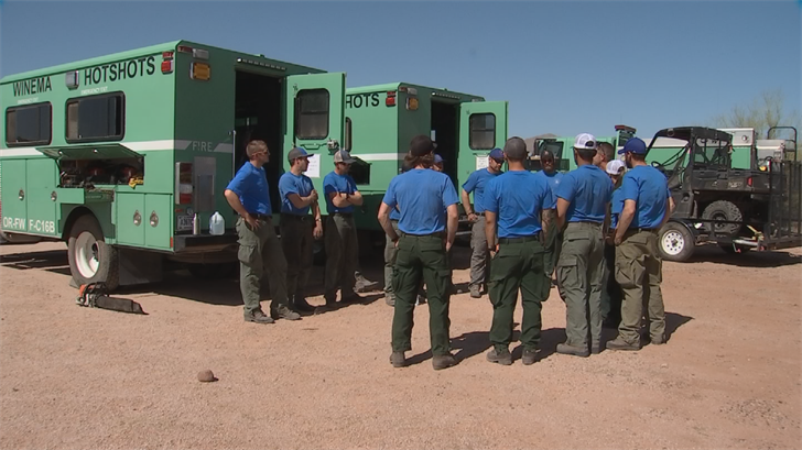 There are three hotshot crews deployed here; one in southern Arizona, one in the central part of the stateand one up north. (Source: 3TV/CBS 5)