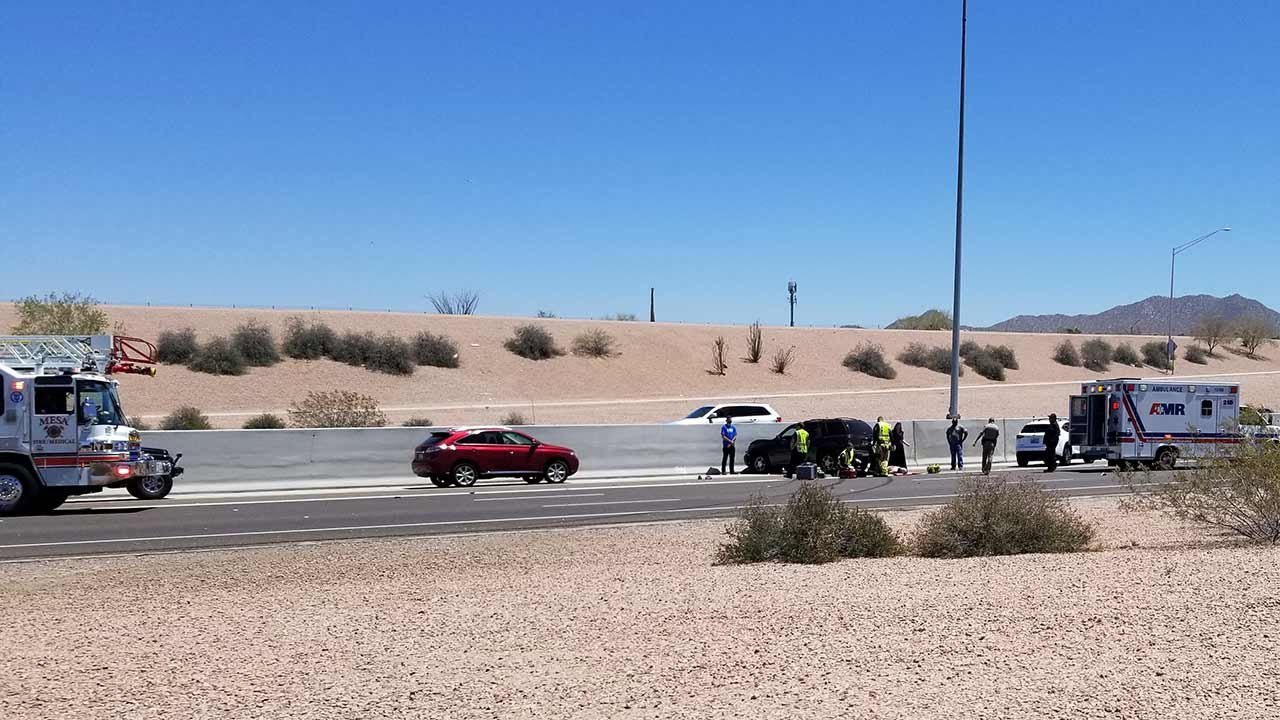 DPS confirmed that a vehicle hit the wall on the eastbound side of the freeway. (Source: Arizona's Family viewer)