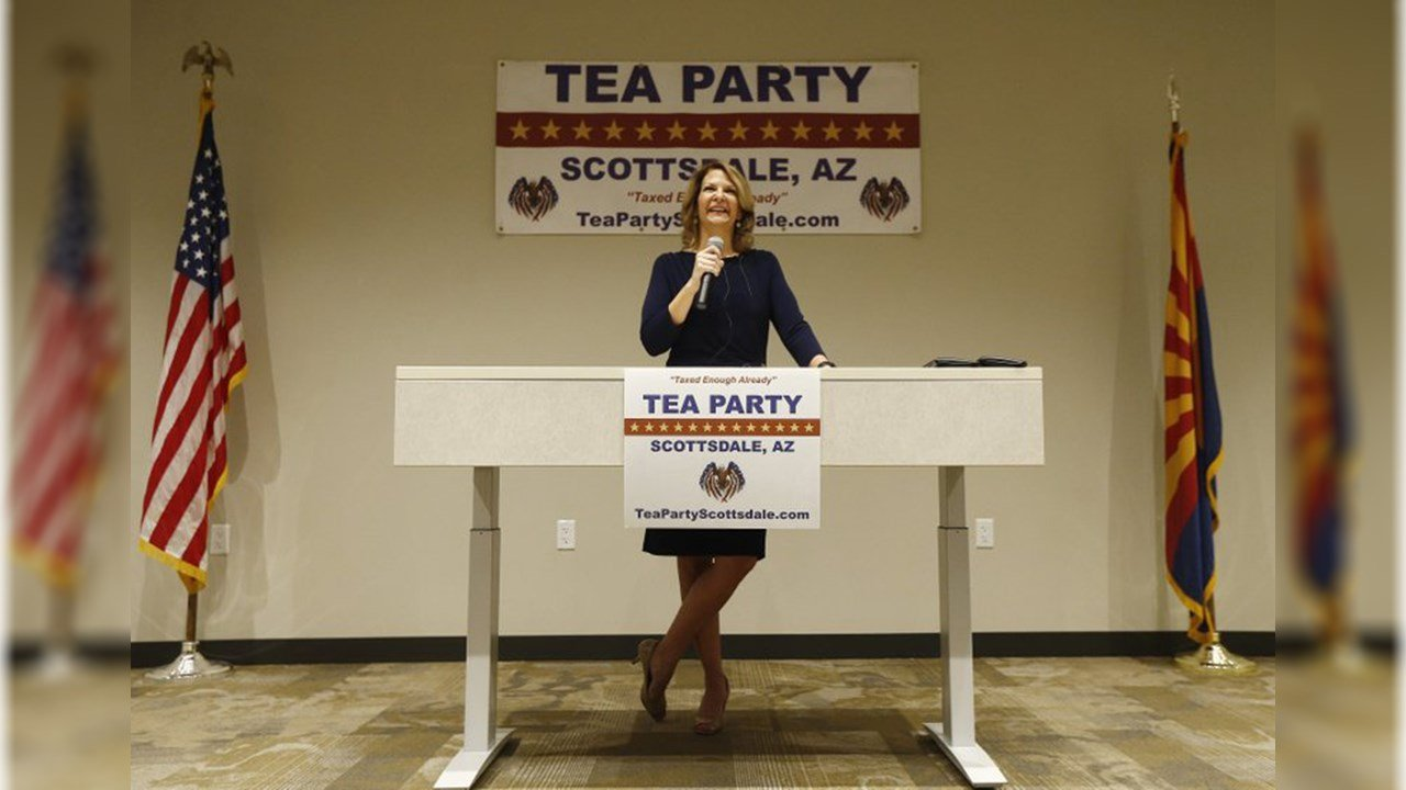 In this May 17, 2018, photo, Republican Senate candidate Kelli Ward talks about her platform policies at a Scottsdale Tea Party event in Scottsdale, Ariz. (Source: AP Photo/Ross D. Franklin)