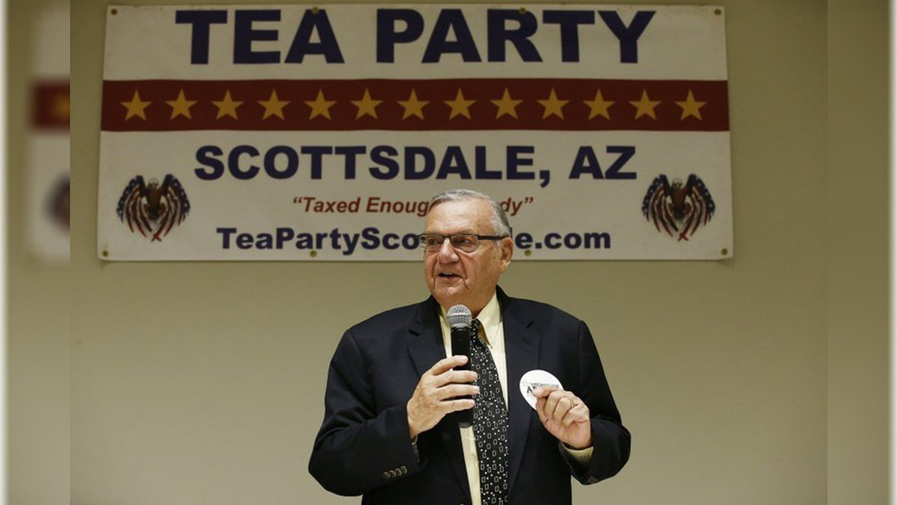 In this May 17, 2018, photo, Republican Senate candidate and former Maricopa Country Sheriff Joe Arpaio talks about his platform policies at a Scottsdale Tea Party event in Scottsdale, Ariz. (Source: AP Photo/Ross D. Franklin)
