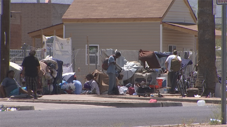 For years, the homeless in Phoenix have lived around West Jefferson, an area littered with trash, drugs, and sleeping bags. (Source: 3TV/CBS 5)