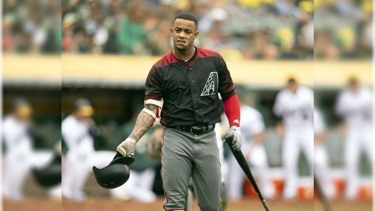 Arizona Diamondbacks Ketel Marte (4) tosses his helmet after striking out to end the top half of the fourth inning of a baseball game against the Oakland Athletics, Saturday, May 26, 2018, in Oakland, Calif. (Source: AP Photo/D. Ross Cameron)