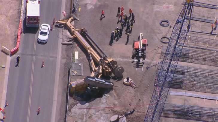 Self was trapped beneath the collapsed rig. (Source: 3TV/CBS 5)