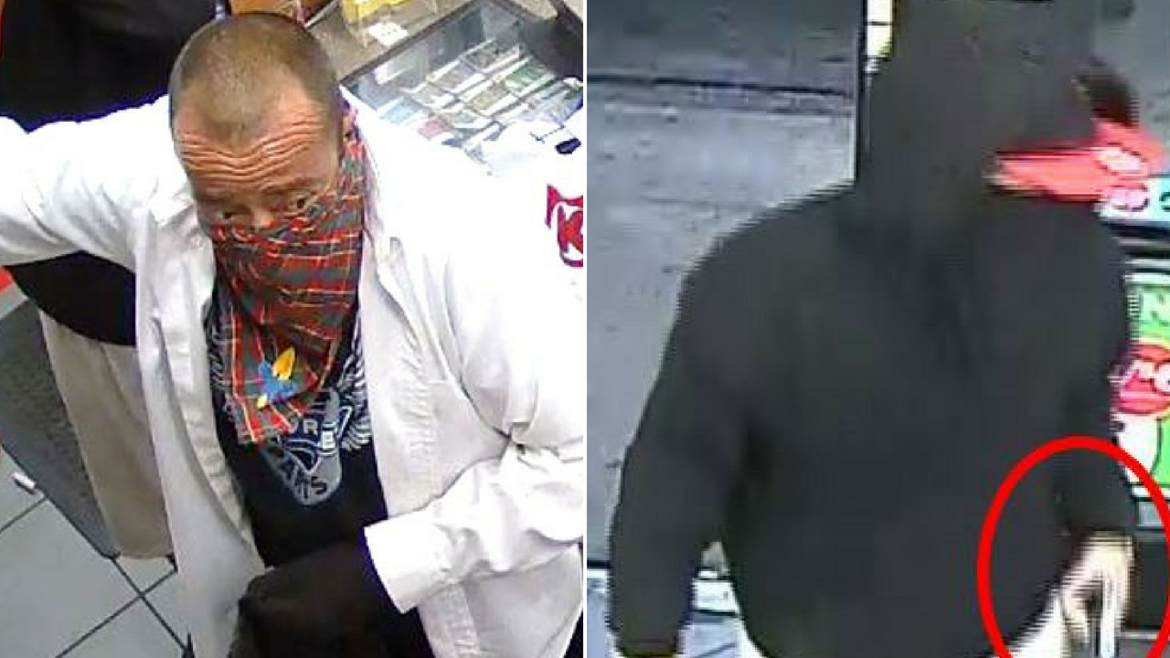The two men stole cash, cigarettes and lottery tickets, police said. (Source: Silent Witness)