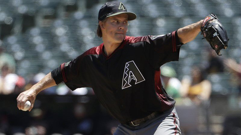 Arizona Diamondbacks pitcher Zack Greinke throws against the Oakland Athletics during the first inning of a baseball game in Oakland, Calif., Sunday, May 27, 2018. (Source: AP Photo/Jeff Chiu)