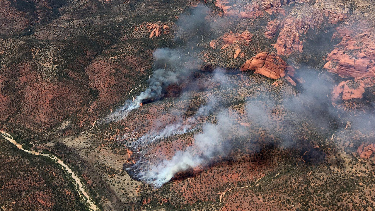 The Sycamore fire is burning 9 miles north of Sedona. (Source: Coconino Nat. Forest)