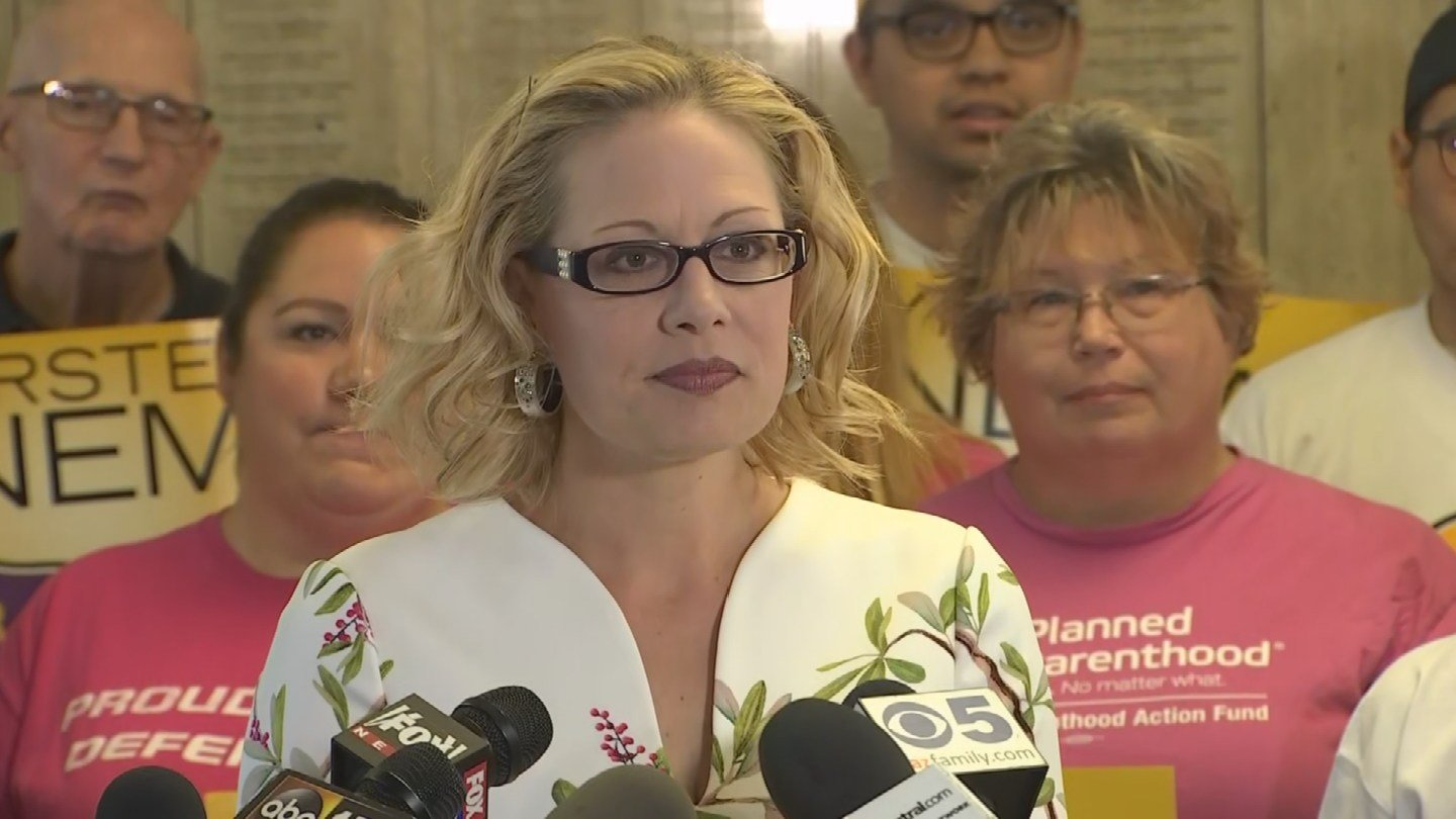 Congresswoman Kyrsten Sinema speaks to the media before she filed her petitions for the U.S. Senate race Tuesday morning in Phoenix(Source: 3TV/CBS 5)