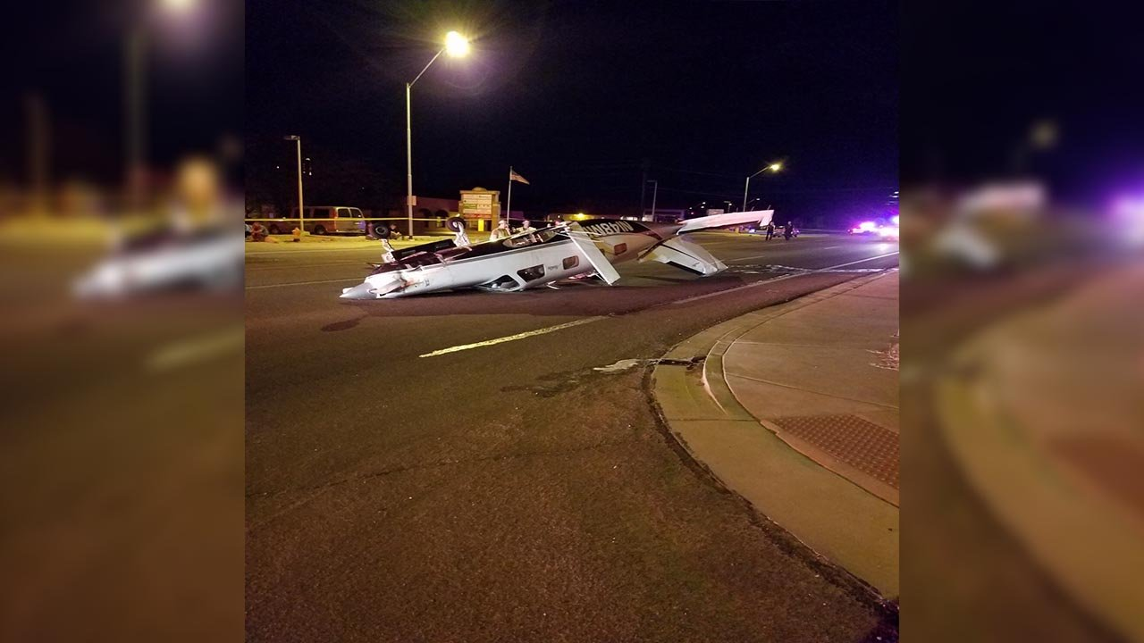 The plane made an emergency landing near 1500 Iron Springs Road in Prescott. (Source: Prescott Police Department)