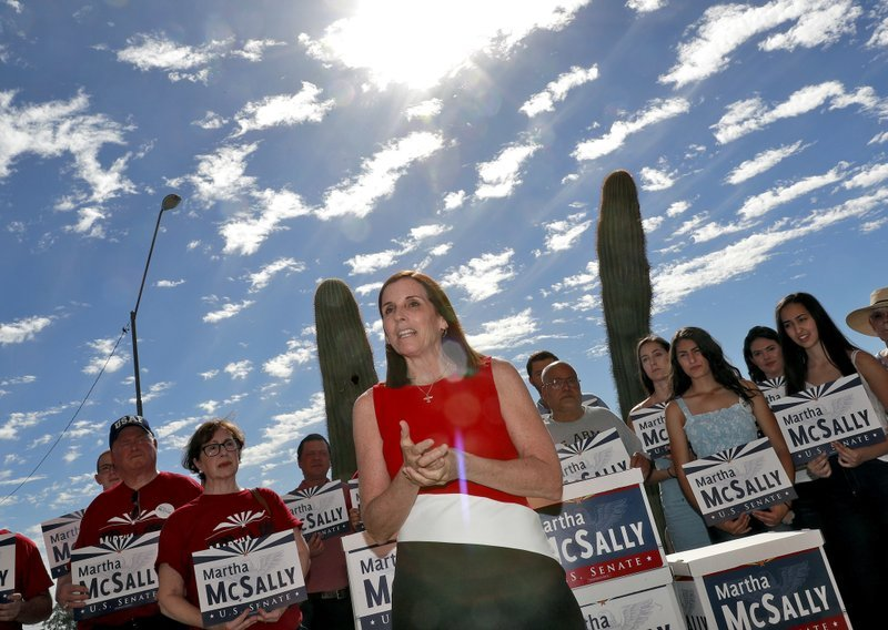 U.S. Rep. Martha McSally, R-Ariz., delivers her signatures to the Arizona Secretary of State's office Tuesday, May 29, 2018, at the Capitol in Phoenix. (Source: AP Photo/Matt York)