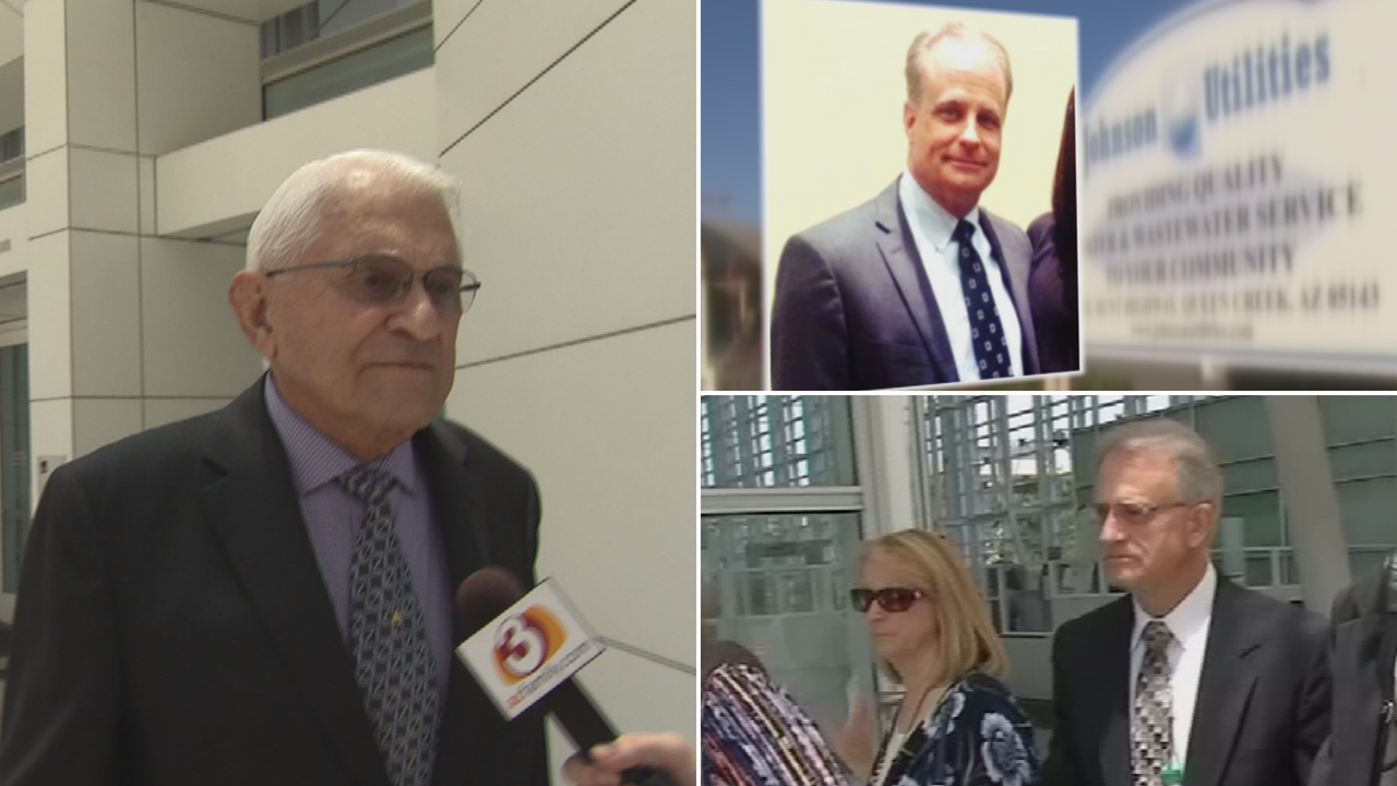 Authorities said George Johnson, left, funneled $31,000 to Corporation Commissioner Gary Pierce Gary Pierce and his wife, bottom right, through lobbyist Jim Norton, top right. (Source: 3TV/CBS 5)