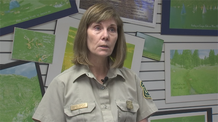 """It continues to get drier and it continues to get hotter. So conditions aren't gonna get any better until we have the monsoons,"" said Carrie Templin, public affairs officer for Tonto National Forest. (Source: 3TV/CBS 5)"