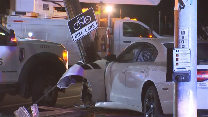A car hit a power pole near 83rd Avenue and Shangri La Road, causing 855 customers to lose power. (Source: 3TV/CBS 5)