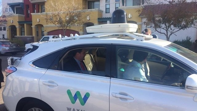 Gov. Doug Ducey took a ride in one of Waymo's self-driving vehicle's in December 2016. (Source: 3TV/CBS 5 file photo)