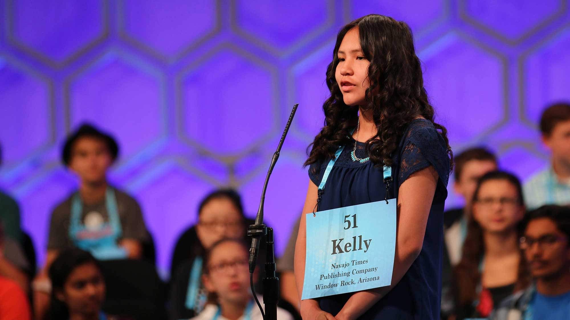 This year's National Spelling Bee was a return engagement for Kelly Haven, a seventh-grader at Tsehootsoi Middle School who was a speller in the national competition in 2017. (Source: Bryan Pietsch/Cronkite News)