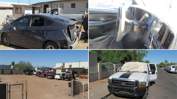 A chop shop was busted and four men were arrested in a May 22 raid, DPS said. (Source: Department of Public Safety)