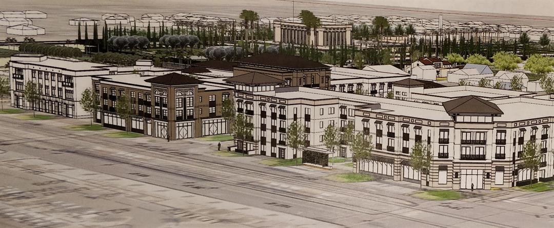 The new development will be located across the street from the Mormon Temple, and right along Mesa's main street light rail corridor. (Source: Dale Gardon Design)