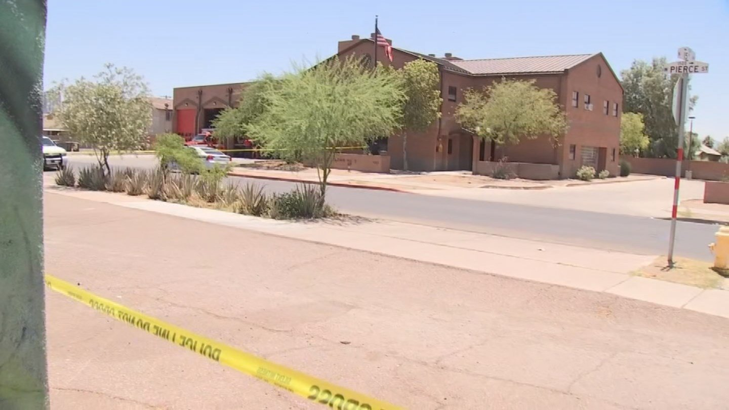 Phoenix police Sgt. Armando Carbajal said firefighters were rolling out ofPhoenix Fire Station No. 3 located at 1257 W.Pierce Streetin response to a call shortly beforenoon on Monday. (Source: 3TV/CBS 5)