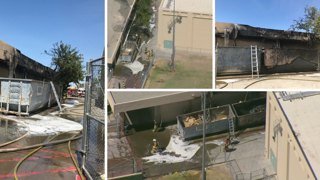 Crews with the Phoenix and Glendale fire departments controlled a fire that started in an exterior dumpster and spread into a building at Alhambra High School.(Source: Phoenix Fire Department, 3TV/CBS 5)