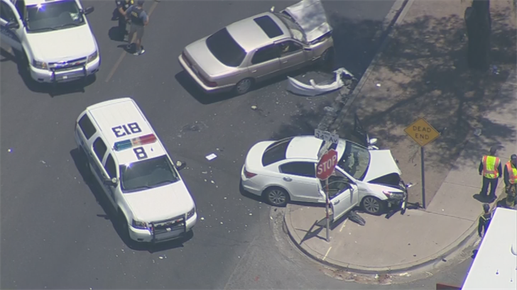 Both the suspect and other driver remain in the hospital after a head-on crash in Phoenix. (Source: 3TV/CBS 5