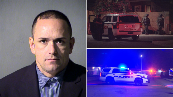 A 35-year-old man is facing multiple charges after pepper spraying officers and refusing to exit his Glendale home late Sunday night. (Source: 3TV/CBS 5/Maricopa County Sheriff's Office)