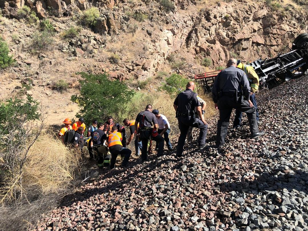 The freight train belongs to BNSF Railway and the other train is owned by Herzog Railroad Services, MCSO said. (Source: Mohave County Sheriff's Office)