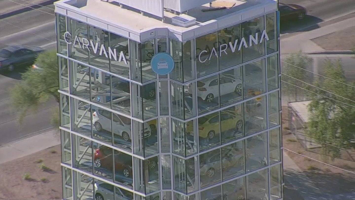 The Carvana vending machine in Tempe is stocked with brightly colored vehicles that are for sale. (Source: 3TV/CBS 5)