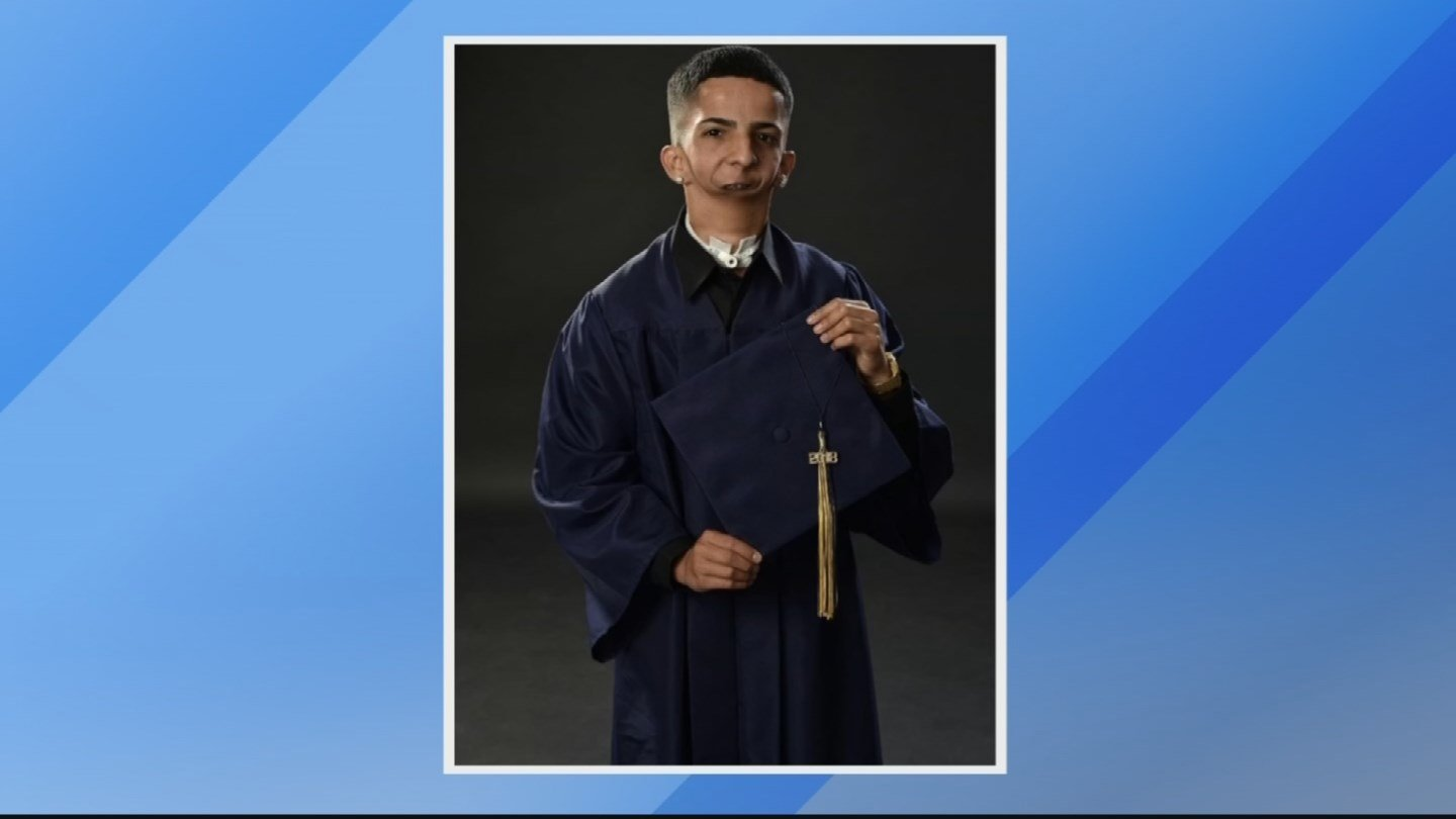 Now the rapper born without a jaw is ready to tackle his next phase in life after graduating from Apollo High School. (Source: Acosta family)