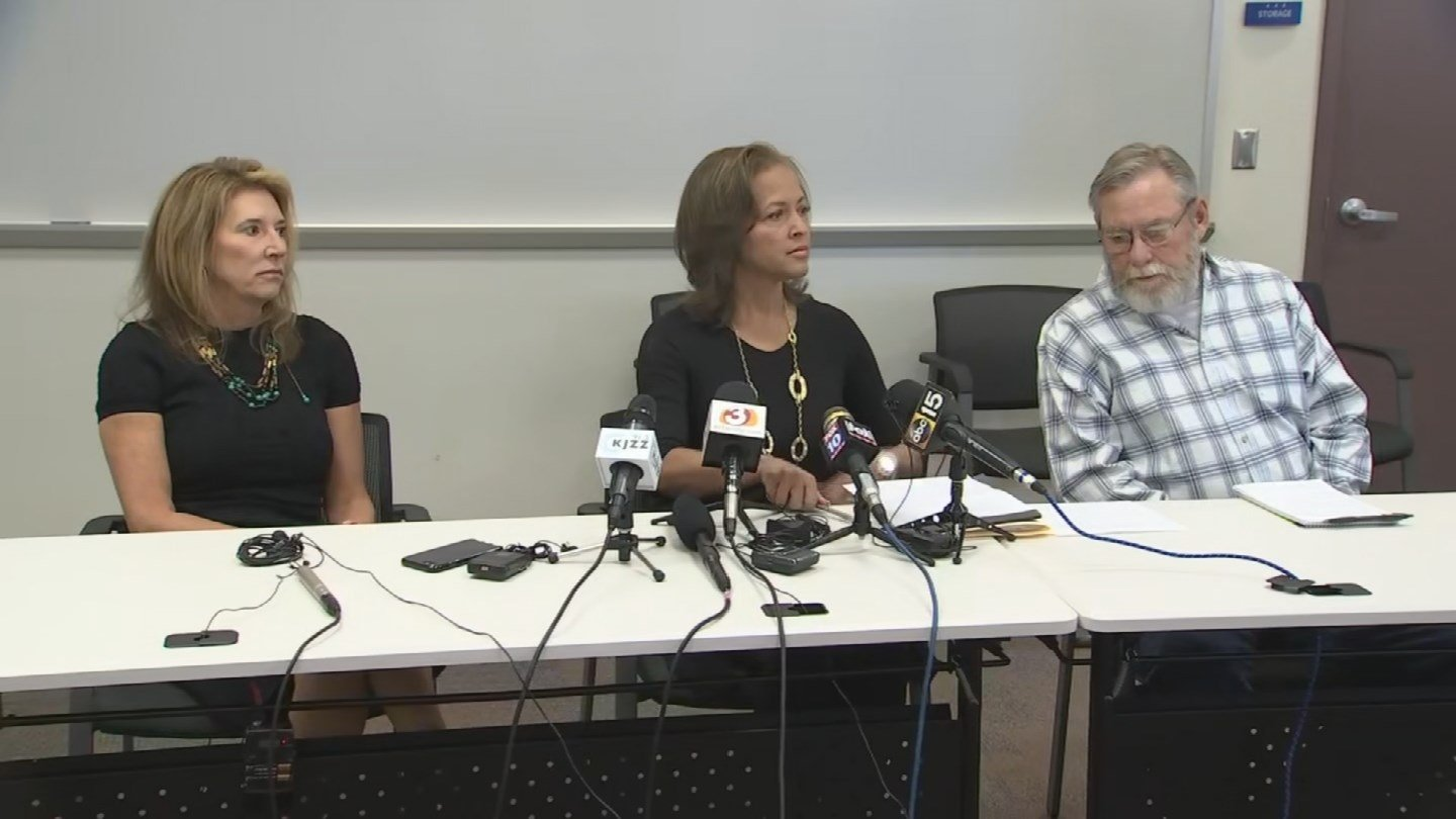 Connie Jones (flanked by her current husband and her divorce attorney) speaks out about her ex-husband, killing spree suspect Dwight Jones (Source: 3TV/CBS 5)