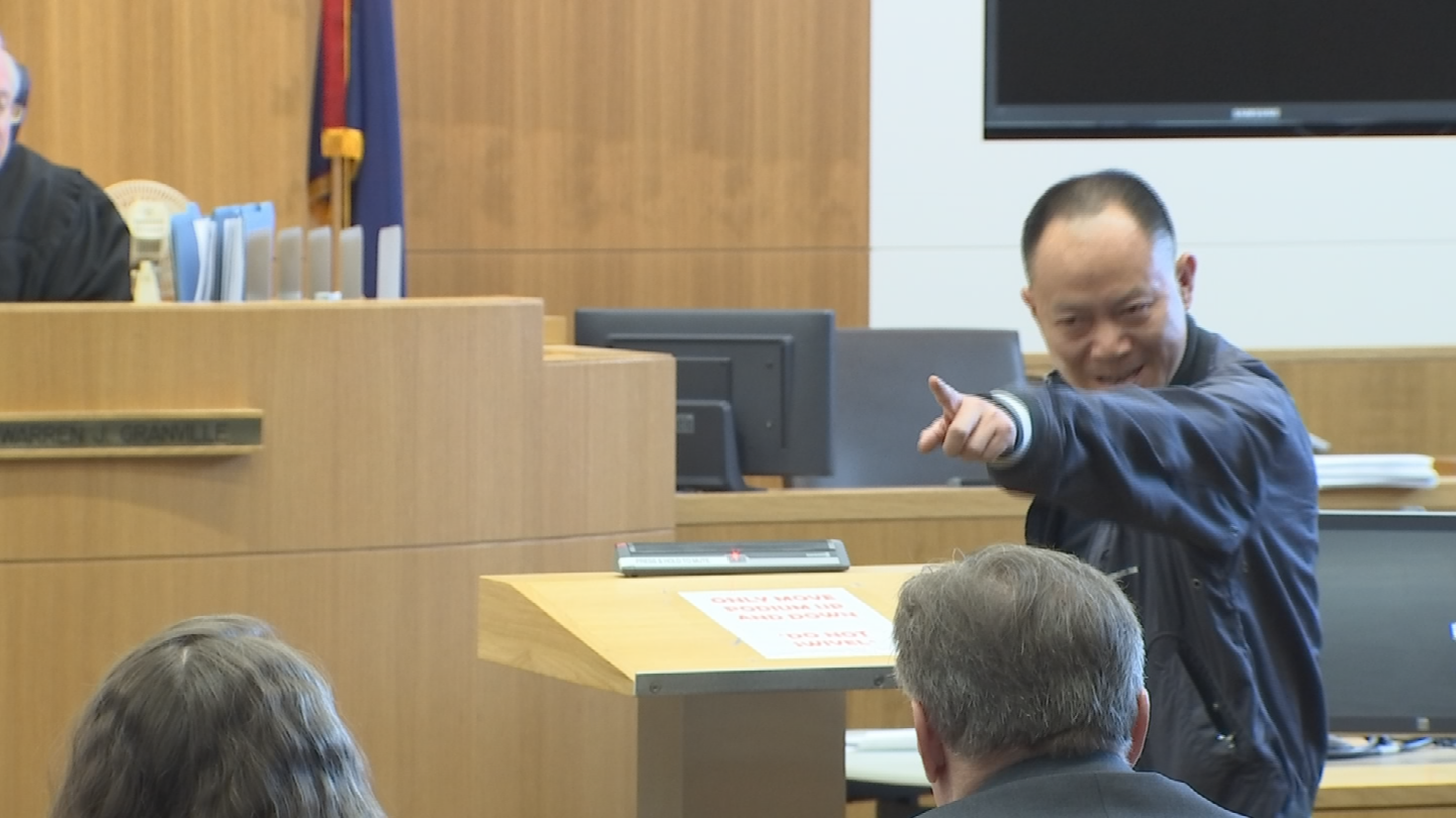 "Yue Jiang's father, Yiyong, glared and pointed at Davis before talking to the judge and shouted in Chongqing, a dialect of the Chinese language, ""How inhumane you were to brutally murder my only daughter!"" (Source: 3TV/CBS 5)"